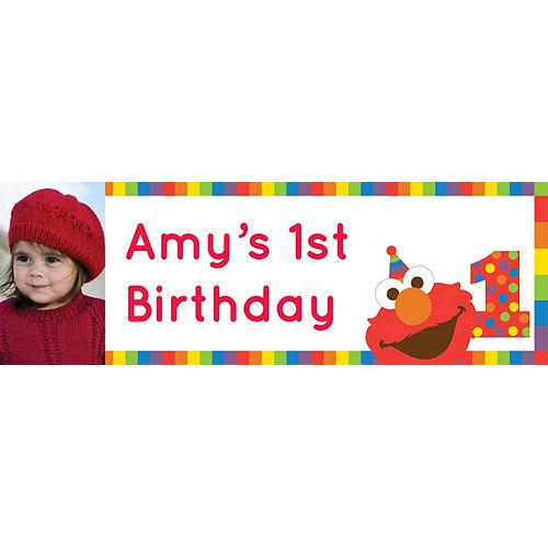 Custom Elmo 1st Birthday Photo Horizontal Banner Image #1