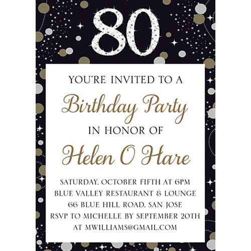 Custom Sparkling Celebration 80 Invitations Image #1