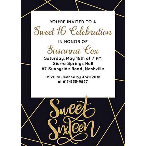 Custom Elegant Sweet 16 Invitations Image #1