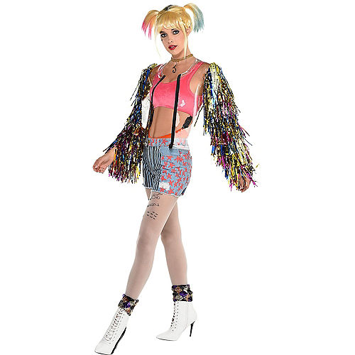 Adult Harley Quinn Clear Jacket with Fringe Sleeves - Birds of Prey Image #1