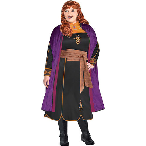 Adult Act 2 Anna Costume Plus Size with Wig - Frozen 2 Image #1