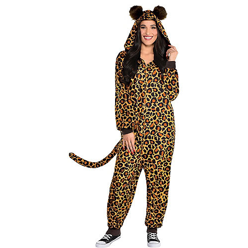 Adult Zipster Leopard Print One-Piece Costume Image #1