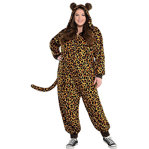 Adult Zipster Leopard Print One-Piece Costume Plus Size Image #1