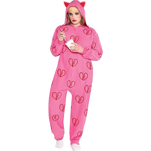 Adult Heart Break Onesie Harley Quinn Costume Plus Size - Birds of Prey Image #1