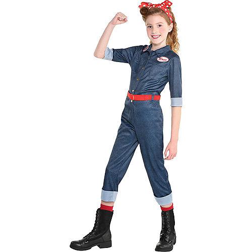 Child Rosie the Riveter Denim Jumpsuit Costume Image #1
