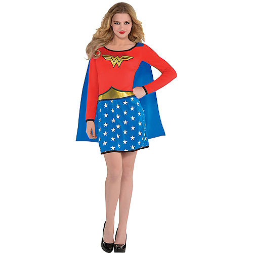 Adult Long-Sleeve Wonder Woman Dress with Cape Image #1