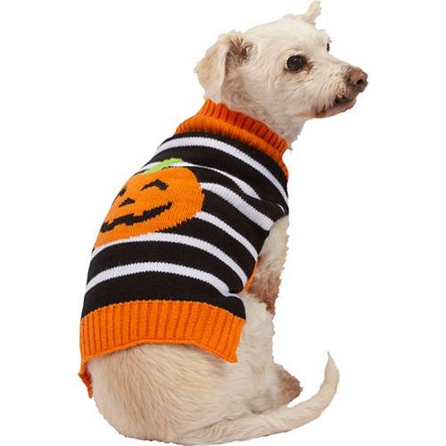 Jack-o'-Lantern Striped Dog Sweater Image #1