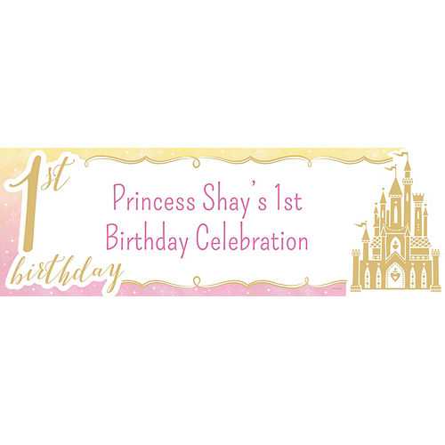 Custom Once Upon a Time Disney Princess 1st Birthday Horizontal Banner Image #1