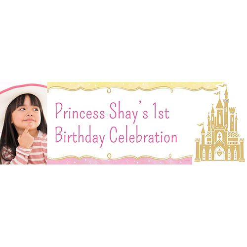 Custom Once Upon a Time Disney Princess 1st Birthday Photo Horizontal Banner Image #1