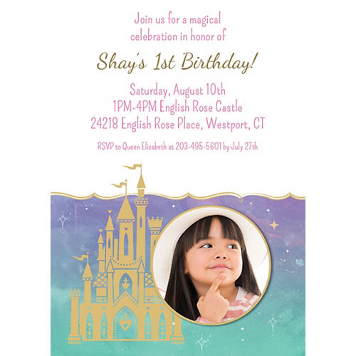 Custom Once Upon a Time Disney Princess 1st Birthday Photo Invitations Image #1