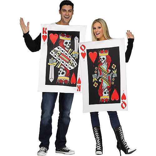Adult King & Queen of Hearts Couples Costumes Image #1