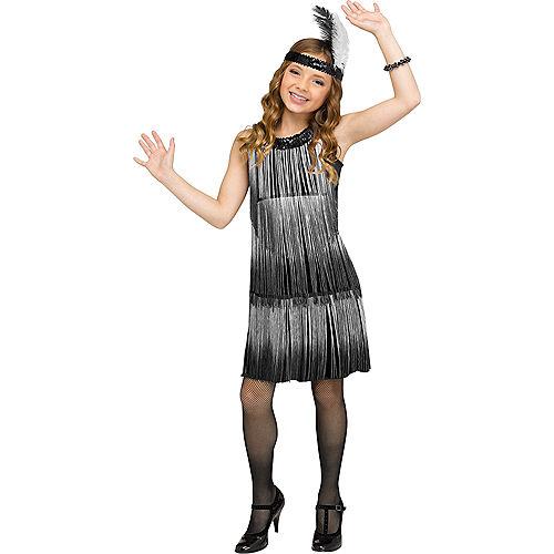 Child Black & White Flirty Flapper Costume Image #1
