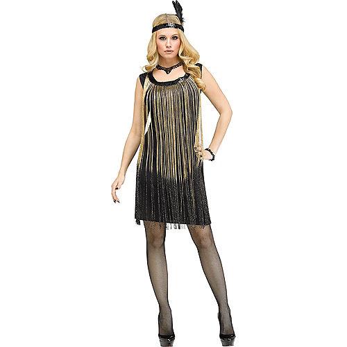 Adult Gold Flirty Flapper Costume Image #1