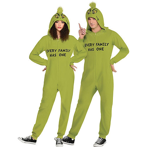 Family Grinch One Piece Zipster Costume for Adults Image #1