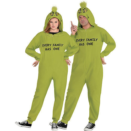 Adult Family Grinch One Piece Zipster Costume Plus Size Image #1