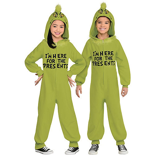 Christmas Grinch One Piece Zipster Costume for Kids Image #1