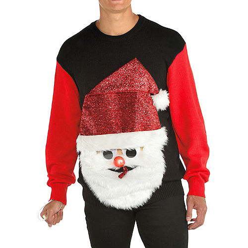 Light-Up Santa's Blown Out Ugly Christmas Sweater for Adults Image #1