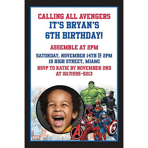 Custom Marvel Powers Unite Photo Invitations Image #1
