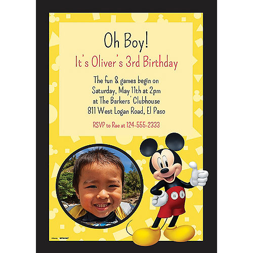 Custom Mickey Mouse Forever Photo Invitations Image #1