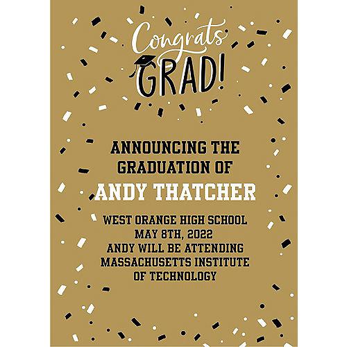 Custom Gold Hats Off Graduation Announcements Image #1