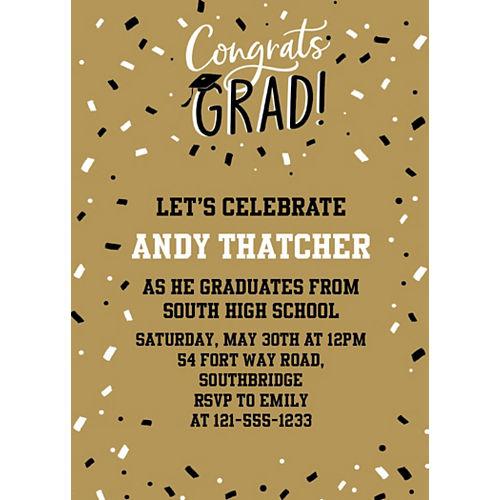 Custom Gold Hats Off Graduation Invitations Image #1