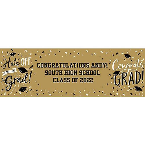 Custom Gold Hats Off Graduation Horizontal Banner Image #1