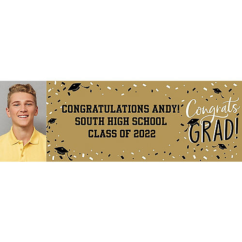 Custom Gold Hats Off Graduation Photo Horizontal Banner Image #1