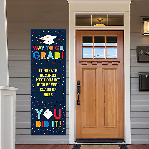 Custom Navy Class of Awesome Graduation Vertical Banner Image #1
