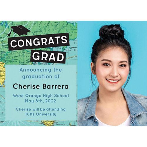 Custom The World Awaits Graduation College Grad Photo Announcements Image #1