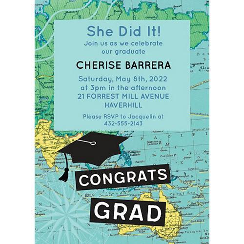 Custom The World Awaits Graduation Invitations Image #1