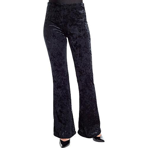 Adult Black Crushed Velvet Flare Pants Image #1