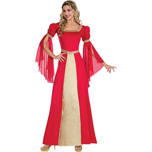 Red & Gold Renaissance Gown Costume for Adults Image #1
