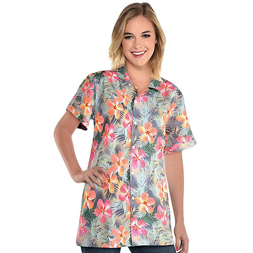 Orange & Pink Floral Button Up Shirt for Adults Image #1