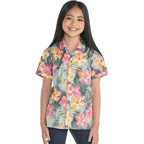 Orange & Pink Floral Button Up Shirt for Kids Image #1