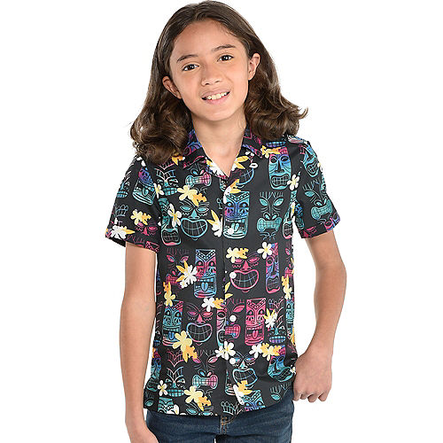 Multicolor Tiki Button Up Shirt for Kids Image #1