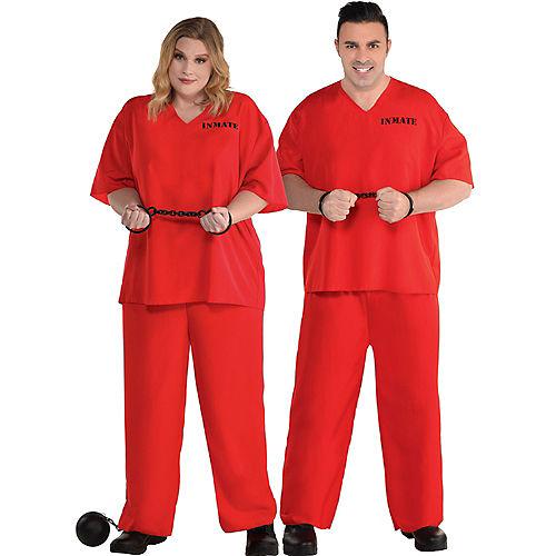 Men's Orange Prisoner Plus Size Costume Image #1