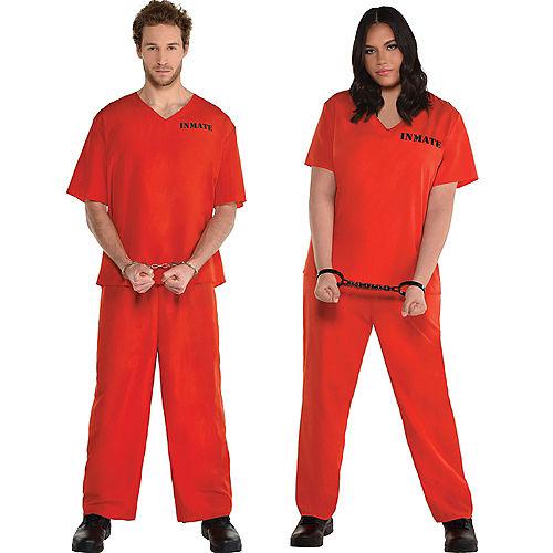 Men's Orange Prisoner Costume Image #1
