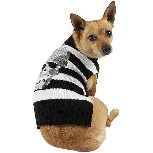Black & White Sequin Skull Halloween Sweater for Dogs Image #1