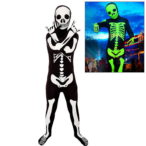 Glow-in-the-Dark Skeleton Morphsuit Costume for Kids Image #1