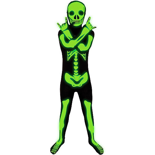 Glow-in-the-Dark Skeleton Morphsuit Costume for Kids Image #2