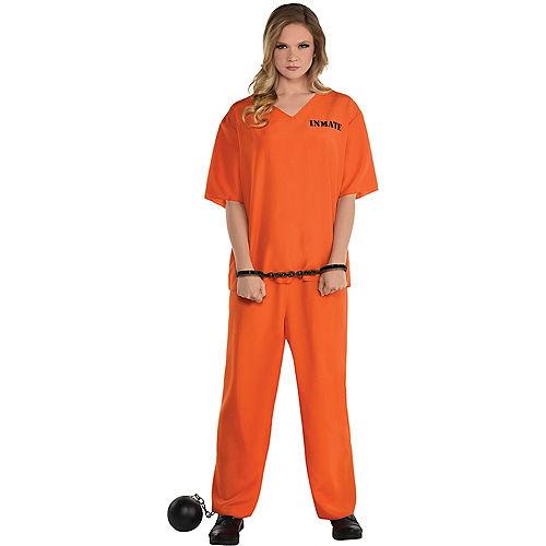 Women's Orange Prisoner Costume Image #1