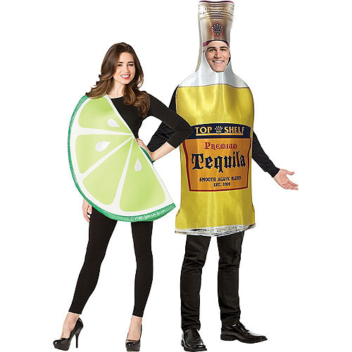 Tequila Bottle & Lime Slice Couples Costumes for Adults Image #1