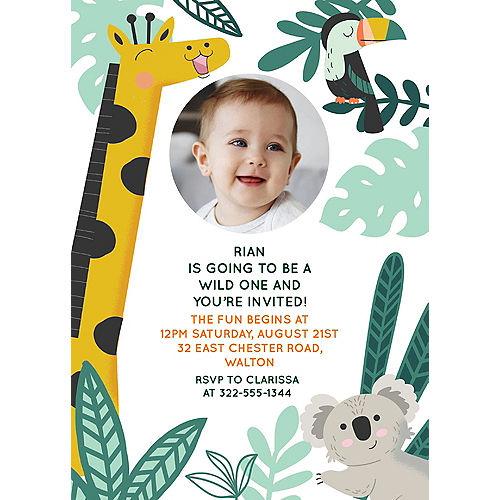 Custom Get Wild Jungle Cardstock Photo Invitations Image #1