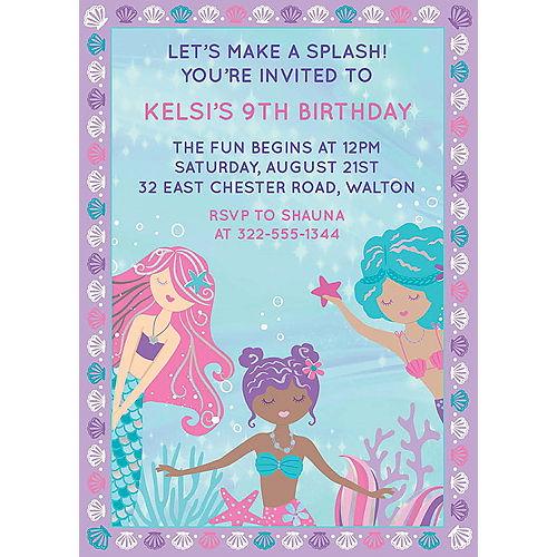 Custom Shimmering Mermaids Cardstock Invitations Image #1