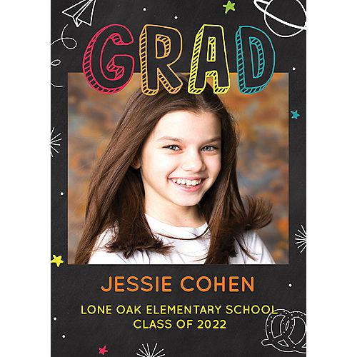 Custom Elementary School Chalkboard Graduation Photo Announcements Image #1