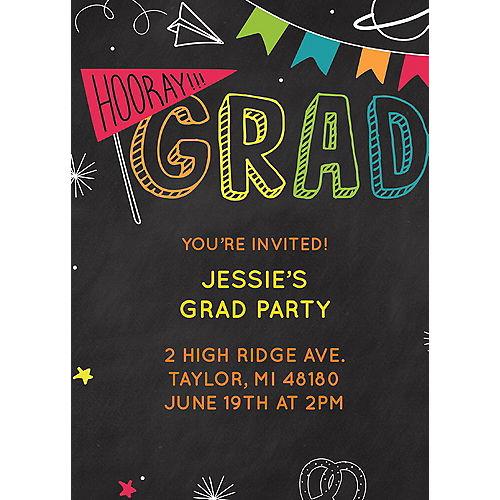 Custom Elementary School Chalkboard Graduation Invitations Image #1