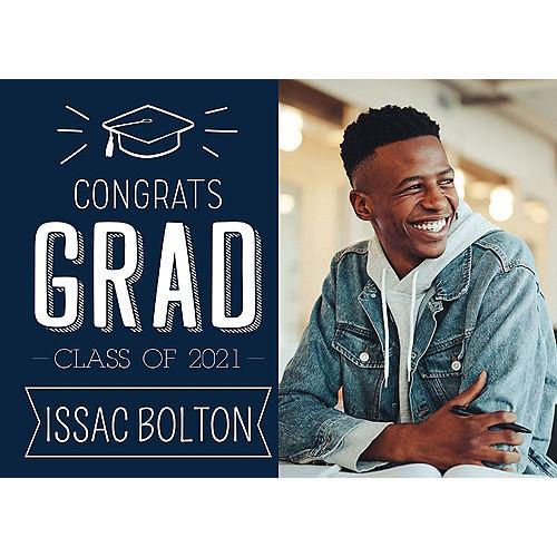 Custom Navy Graduation Photo Announcements Image #1