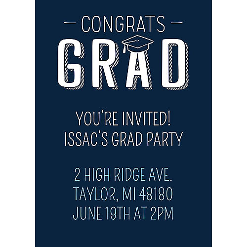 Custom Navy Graduation Invitations Image #1