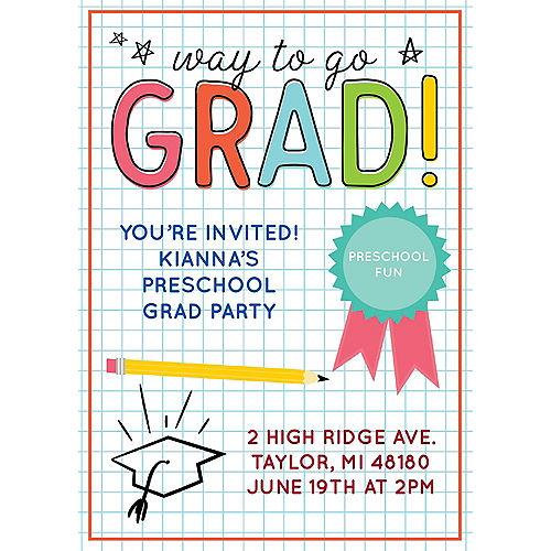 Custom Elementary School Doodle Graduation Invitations Image #1
