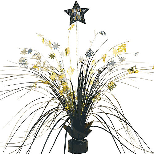 black gold silver new years spray centerpiece